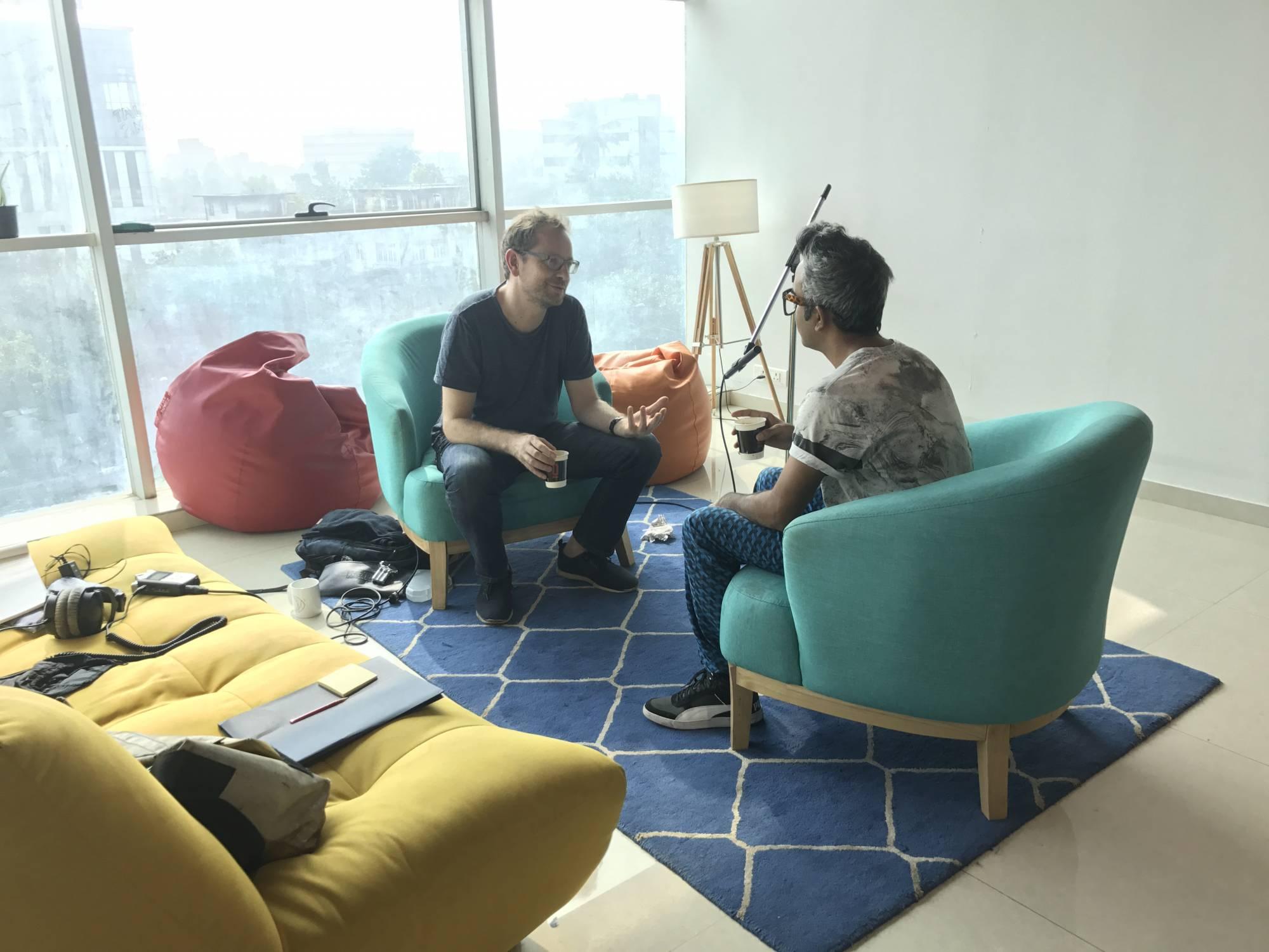 Mats Staub in conversation with Shazeb Shaikh in his office in Mumbai, December 2017 (Image: Peter Schürmann)